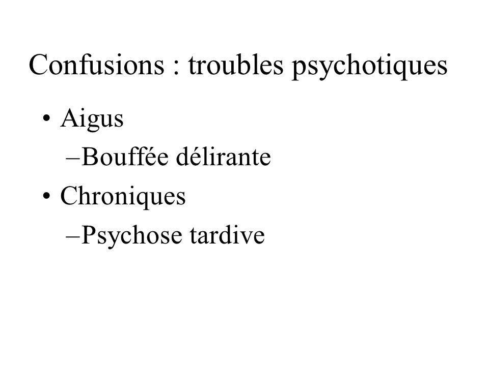 Confusions : troubles psychotiques
