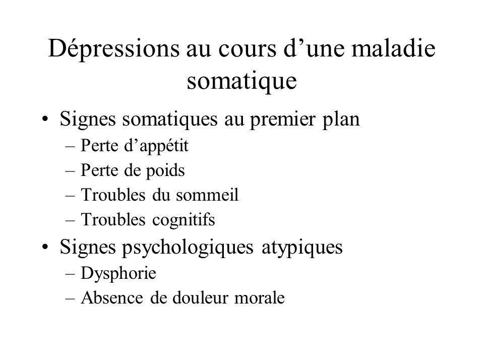 Dépressions au cours d'une maladie somatique