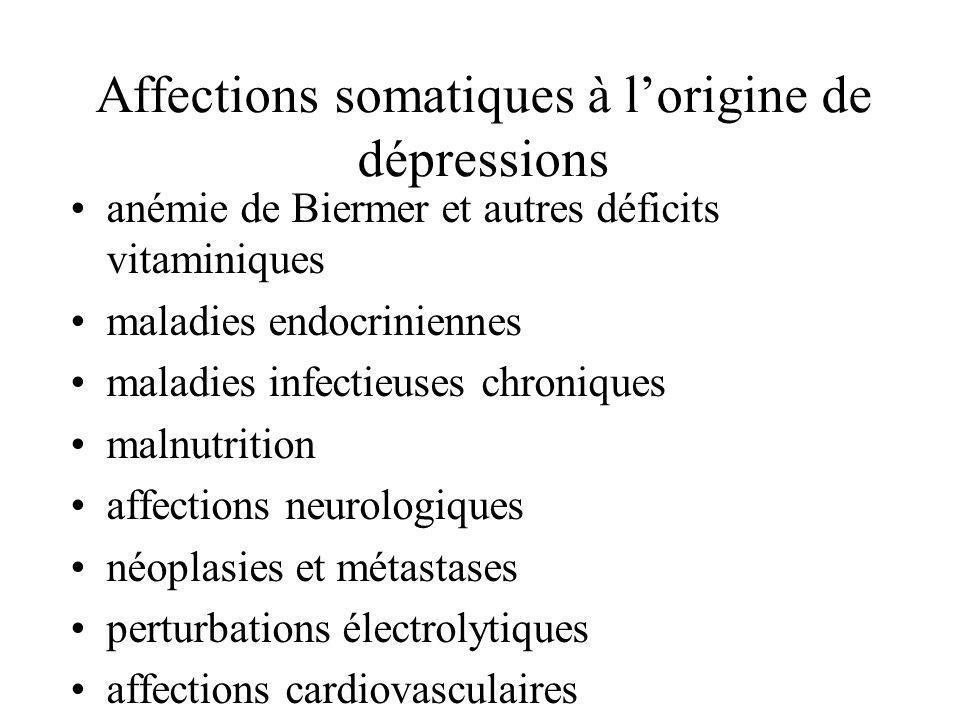 Affections somatiques à l'origine de dépressions