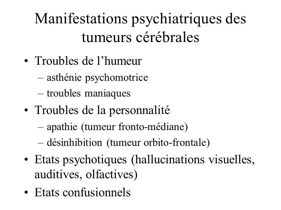 Manifestations psychiatriques des tumeurs cérébrales