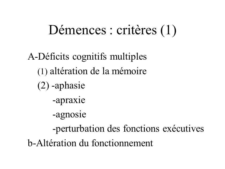 Démences : critères (1) A-Déficits cognitifs multiples (2) -aphasie