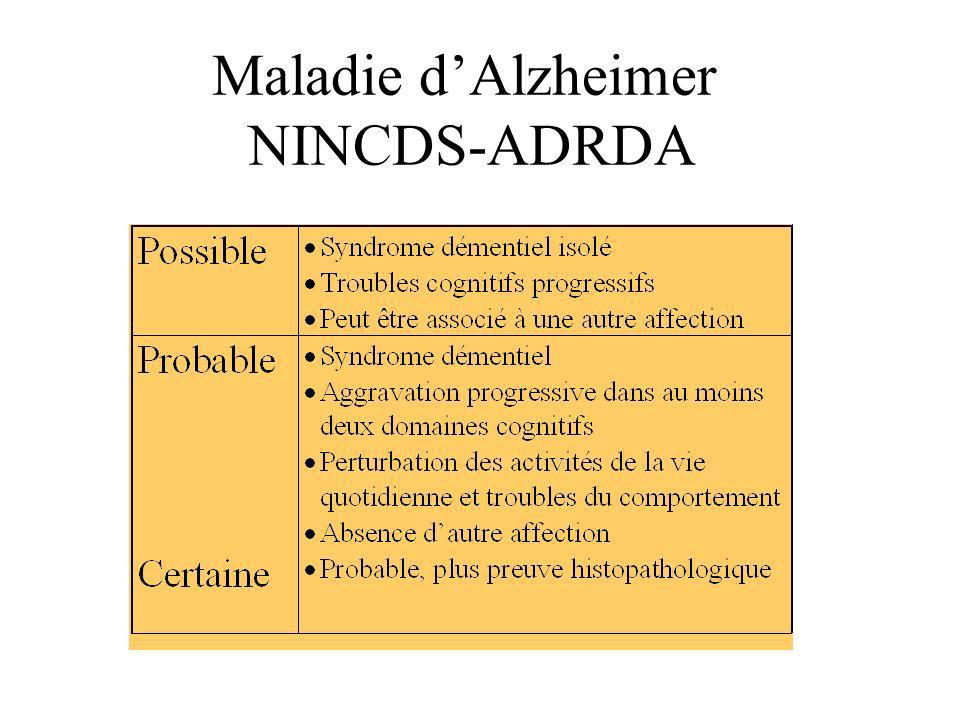 Maladie d'Alzheimer NINCDS-ADRDA