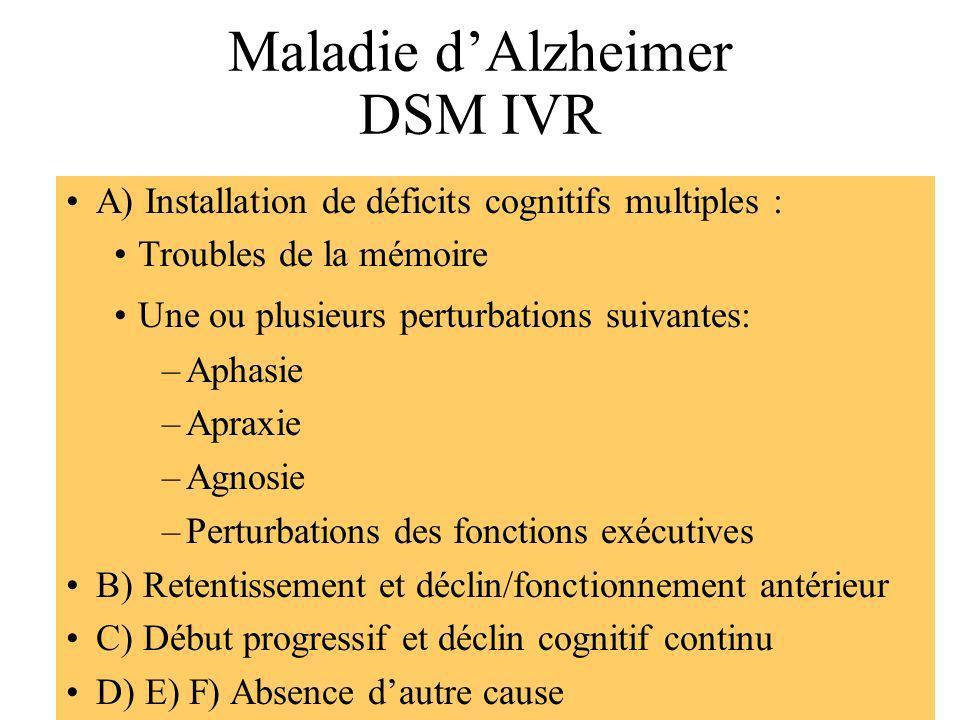 Maladie d'Alzheimer DSM IVR