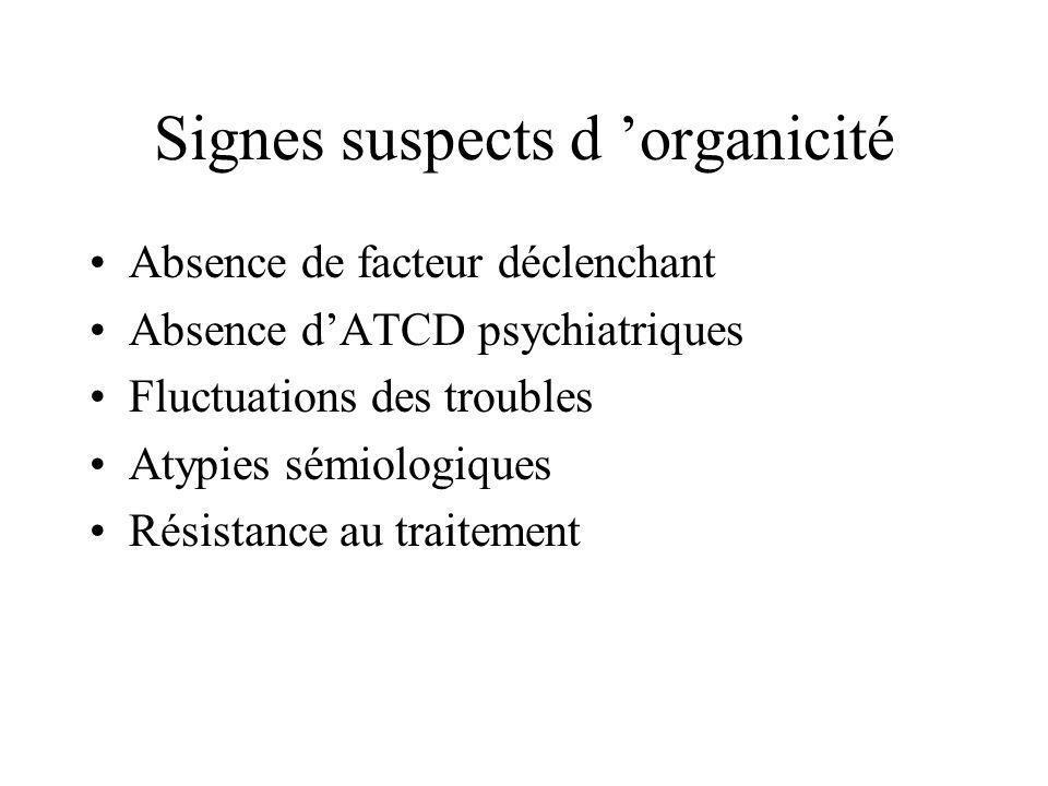 Signes suspects d 'organicité