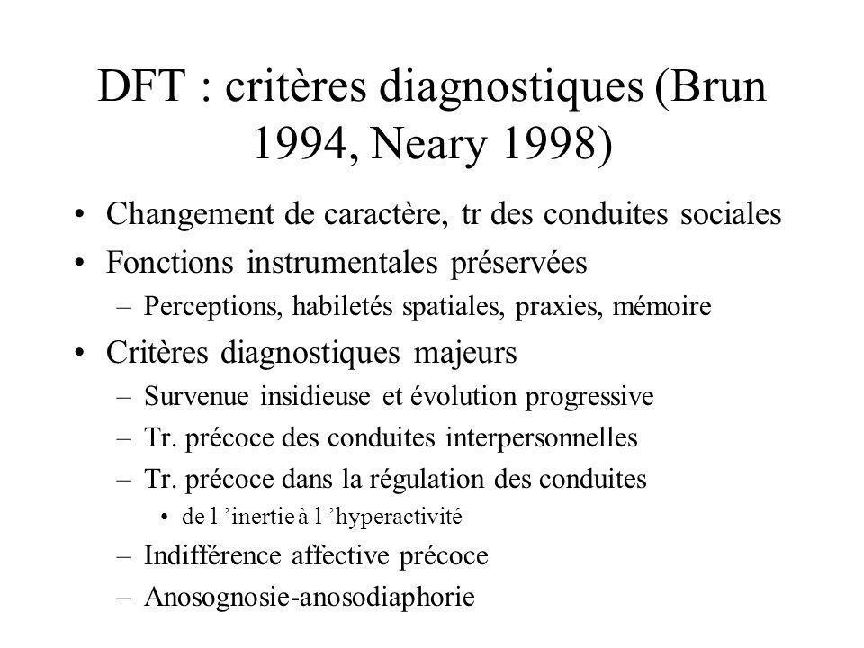 DFT : critères diagnostiques (Brun 1994, Neary 1998)