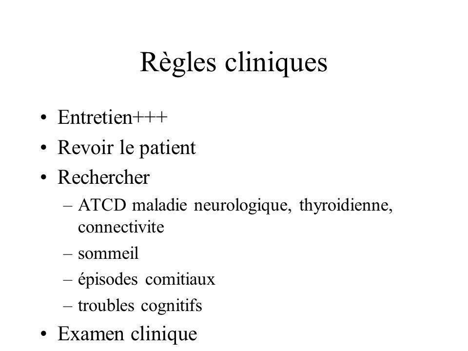 Règles cliniques Entretien+++ Revoir le patient Rechercher