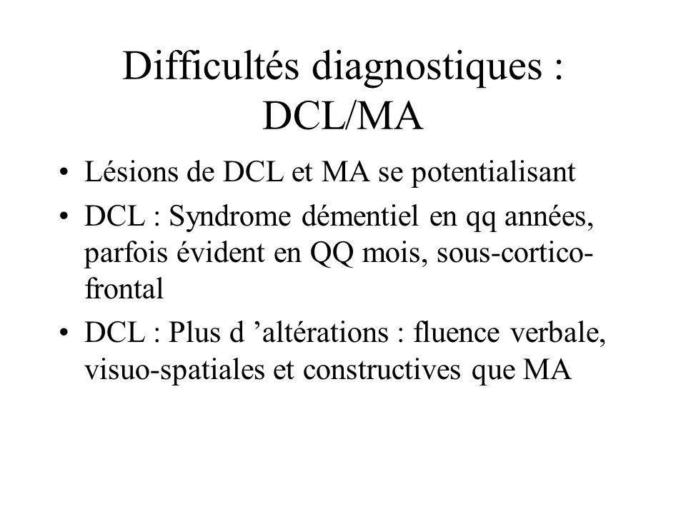 Difficultés diagnostiques : DCL/MA