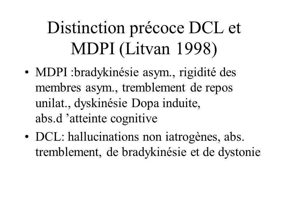 Distinction précoce DCL et MDPI (Litvan 1998)