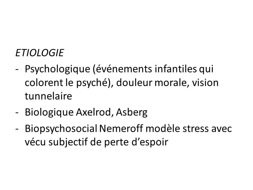 ETIOLOGIEPsychologique (événements infantiles qui colorent le psyché), douleur morale, vision tunnelaire.
