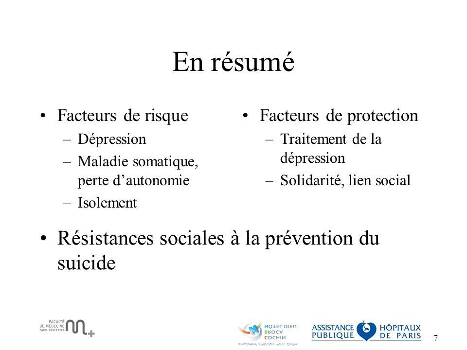 En résumé Résistances sociales à la prévention du suicide