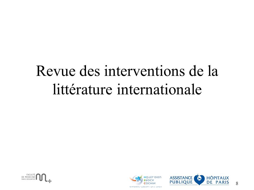 Revue des interventions de la littérature internationale