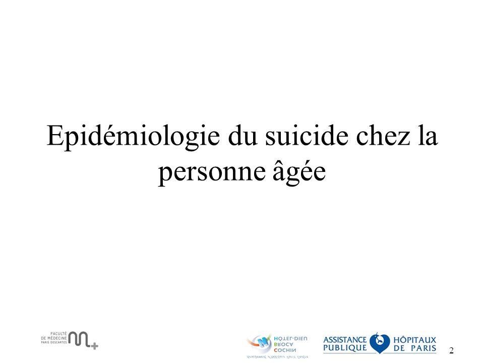 Epidémiologie du suicide chez la personne âgée