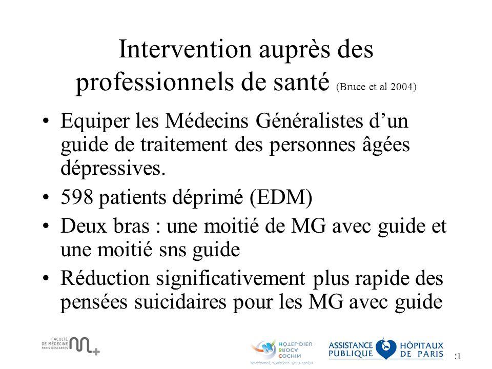 Intervention auprès des professionnels de santé (Bruce et al 2004)