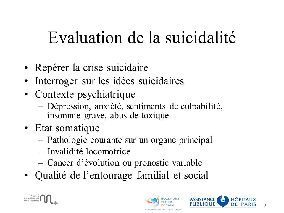 Evaluation de la suicidalité