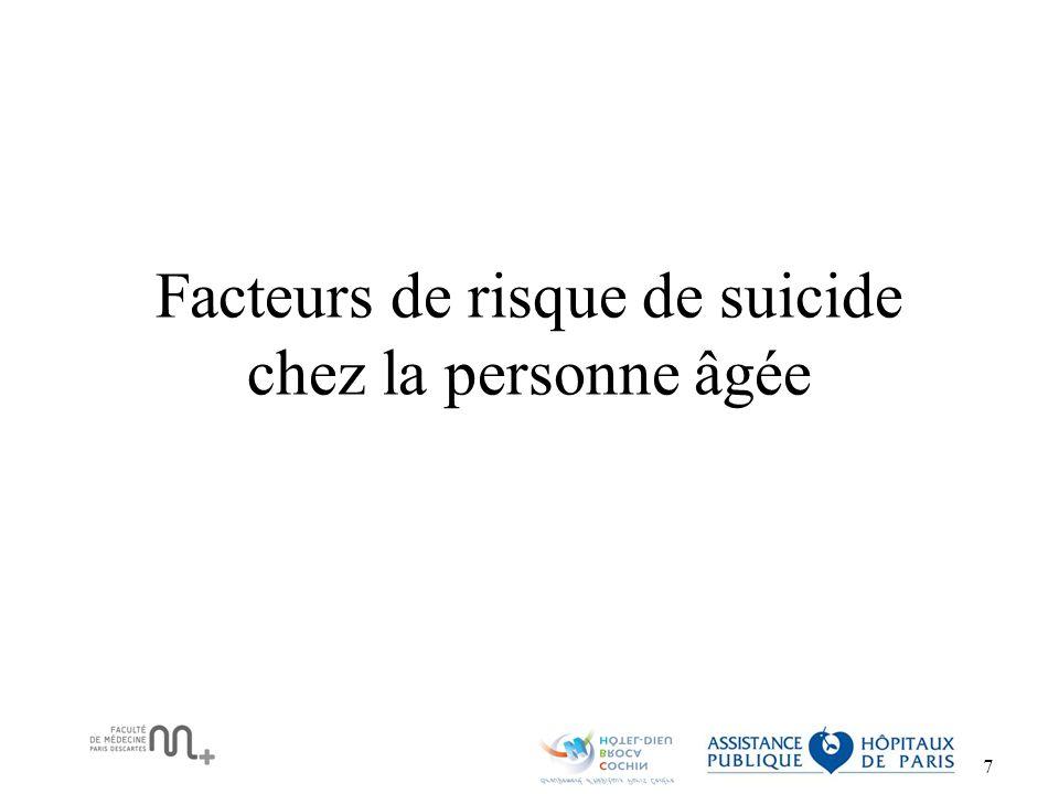 Facteurs de risque de suicide chez la personne âgée