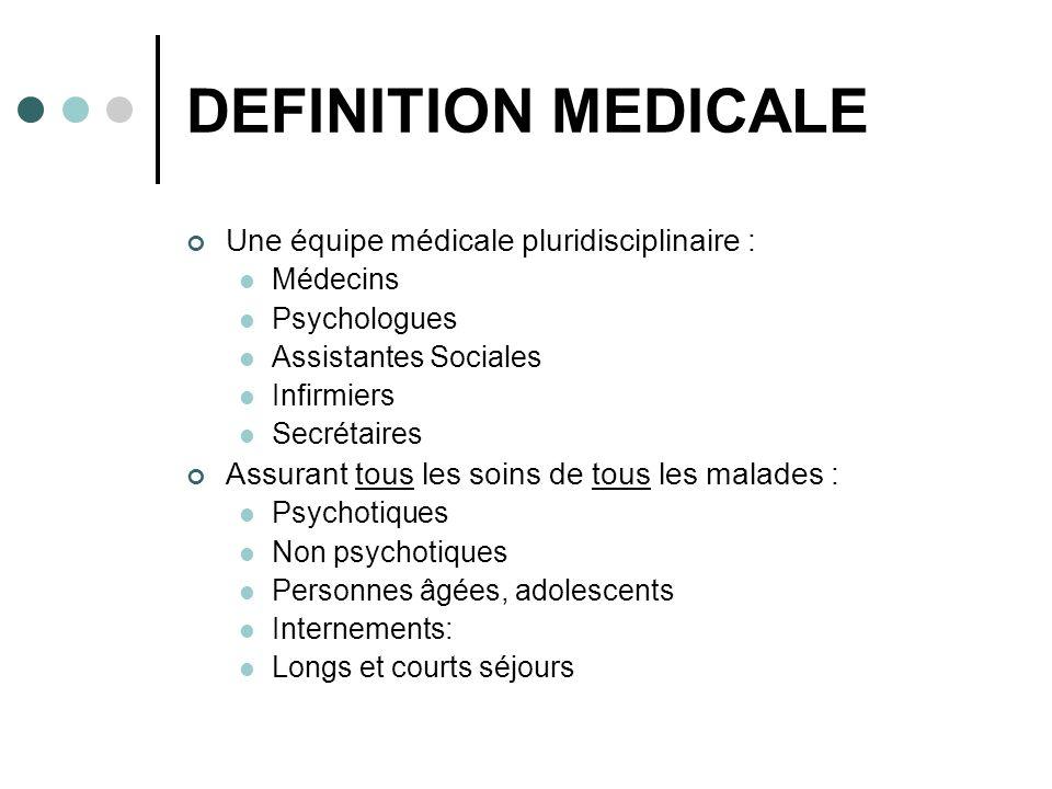 DEFINITION MEDICALE Une équipe médicale pluridisciplinaire :