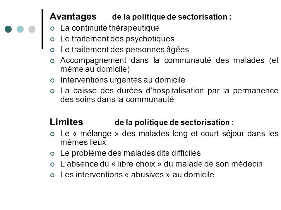 Avantages de la politique de sectorisation :