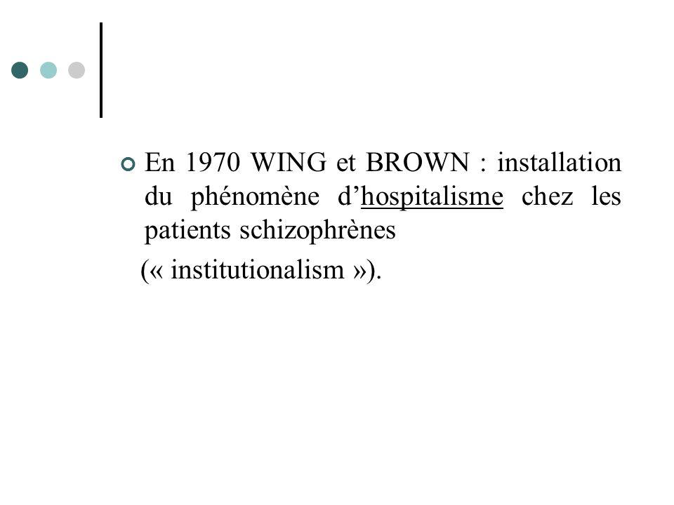 En 1970 WING et BROWN : installation du phénomène d'hospitalisme chez les patients schizophrènes