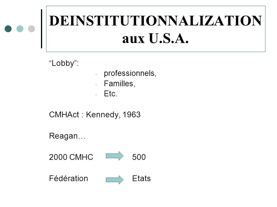DEINSTITUTIONNALIZATION aux U.S.A.