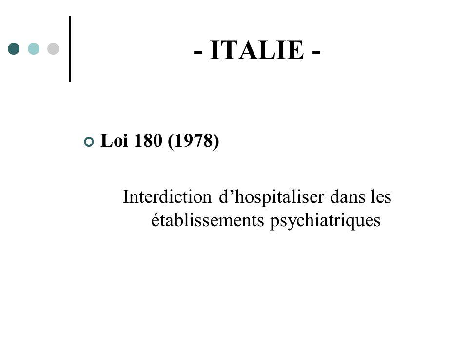 Interdiction d'hospitaliser dans les établissements psychiatriques