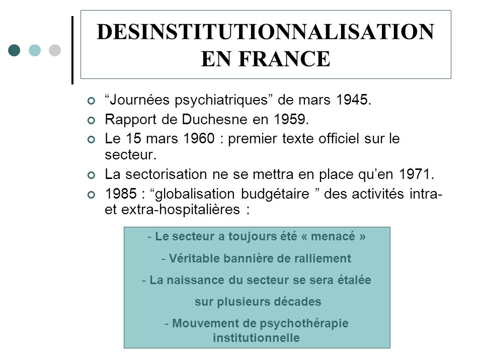 DESINSTITUTIONNALISATION EN FRANCE