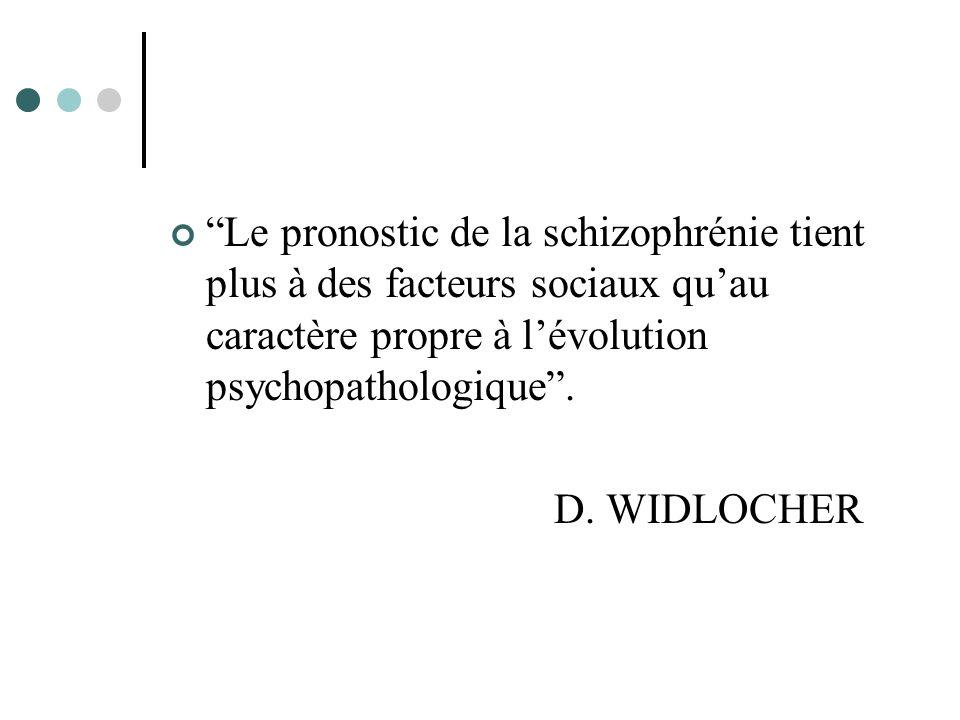 Le pronostic de la schizophrénie tient plus à des facteurs sociaux qu'au caractère propre à l'évolution psychopathologique .