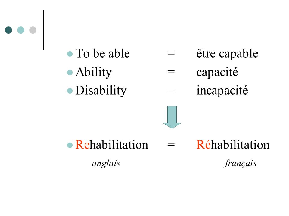 To be able = être capable Ability = capacité Disability = incapacité