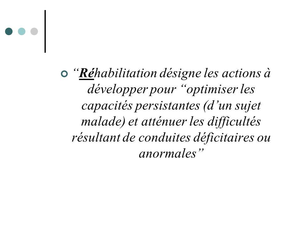 Réhabilitation désigne les actions à développer pour optimiser les capacités persistantes (d'un sujet malade) et atténuer les difficultés résultant de conduites déficitaires ou anormales