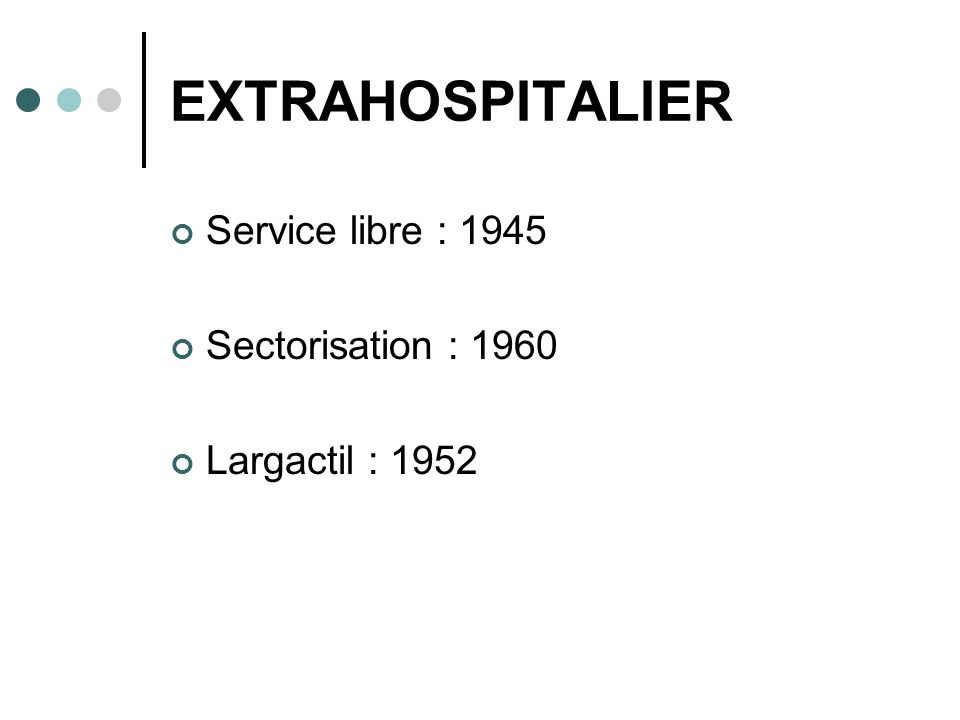 EXTRAHOSPITALIER Service libre : 1945 Sectorisation : 1960