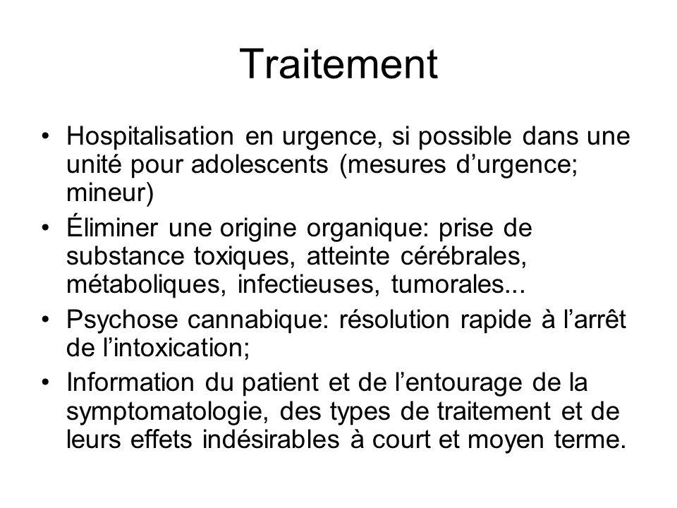 Traitement Hospitalisation en urgence, si possible dans une unité pour adolescents (mesures d'urgence; mineur)