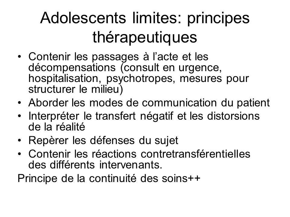 Adolescents limites: principes thérapeutiques