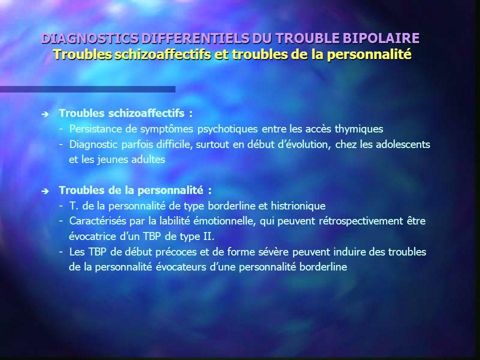 DIAGNOSTICS DIFFERENTIELS DU TROUBLE BIPOLAIRE Troubles schizoaffectifs et troubles de la personnalité