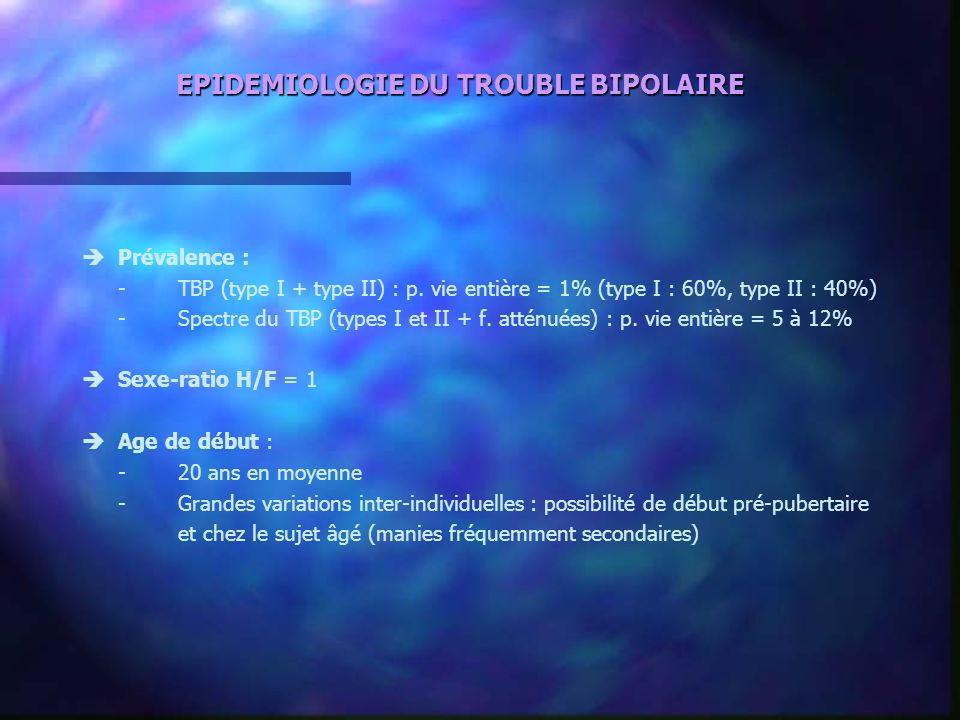 EPIDEMIOLOGIE DU TROUBLE BIPOLAIRE