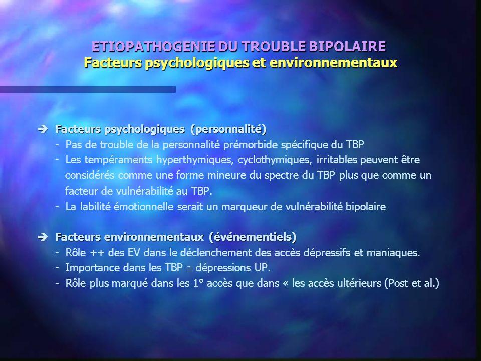 ETIOPATHOGENIE DU TROUBLE BIPOLAIRE Facteurs psychologiques et environnementaux