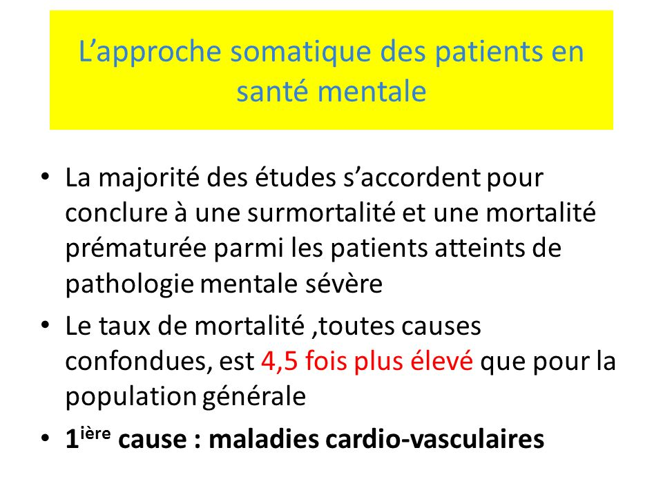 L'approche somatique des patients en santé mentale