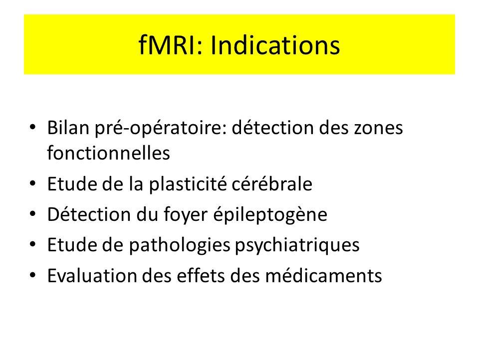 fMRI: Indications Bilan pré-opératoire: détection des zones fonctionnelles. Etude de la plasticité cérébrale.