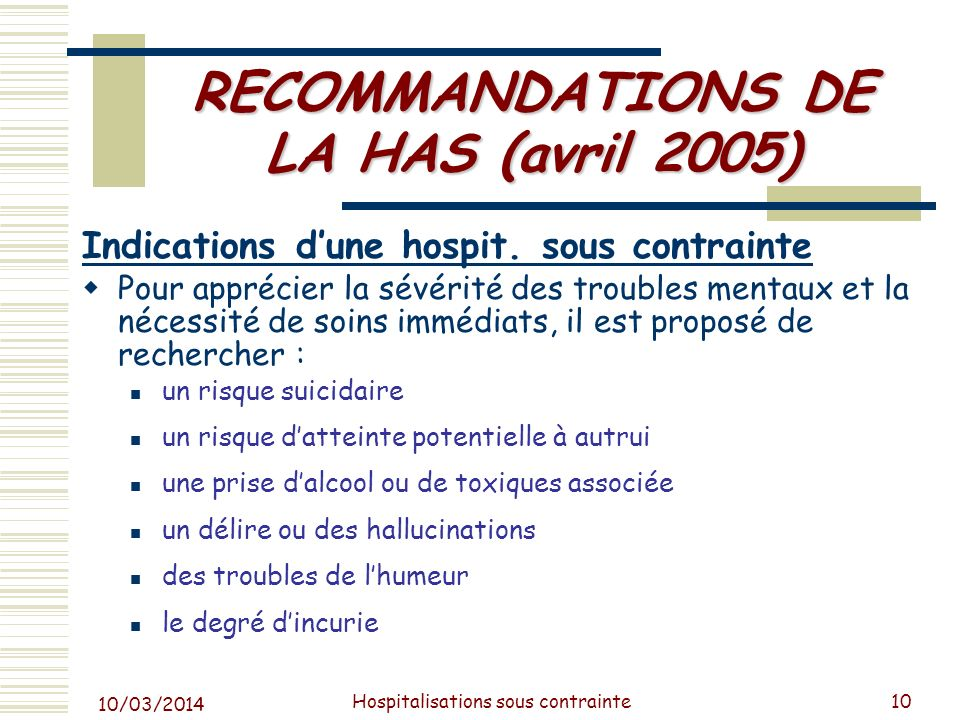 RECOMMANDATIONS DE LA HAS (avril 2005)