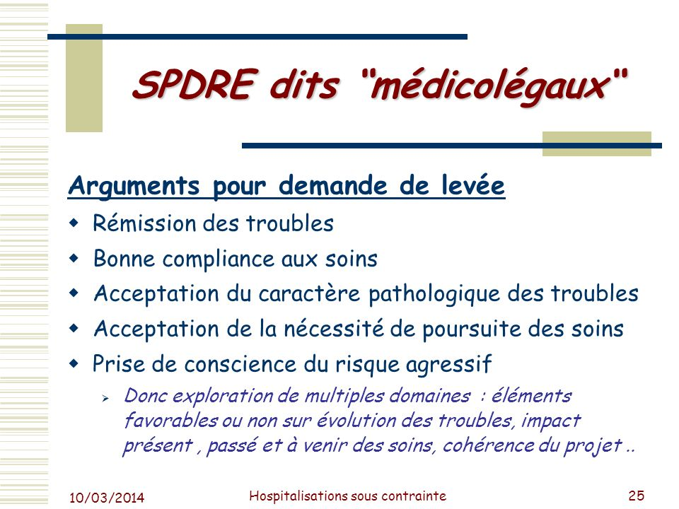 SPDRE dits médicolégaux
