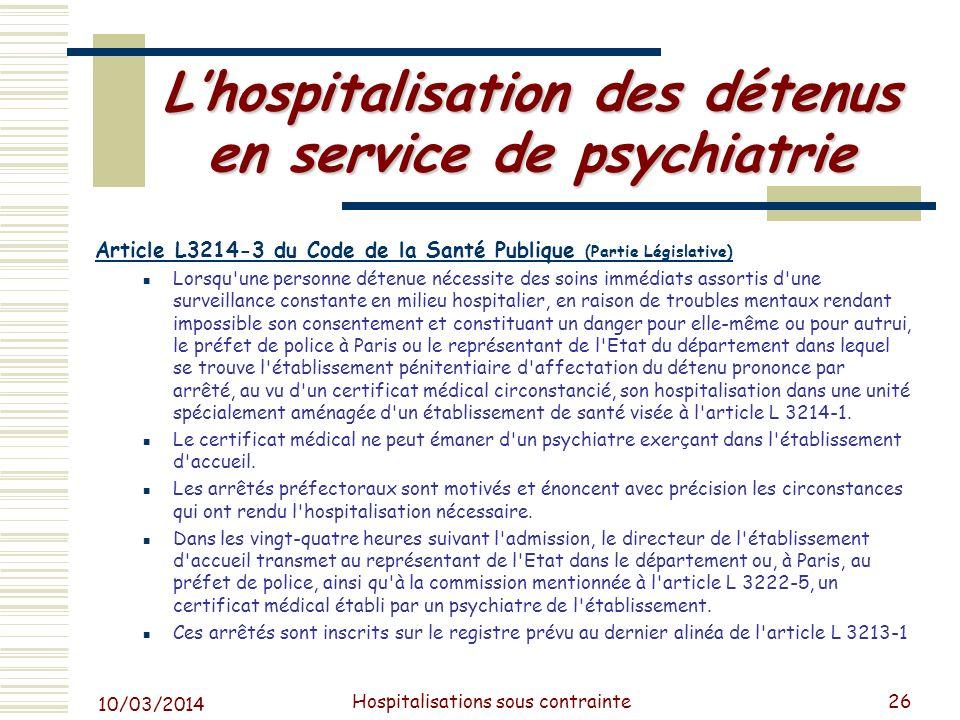 L'hospitalisation des détenus en service de psychiatrie