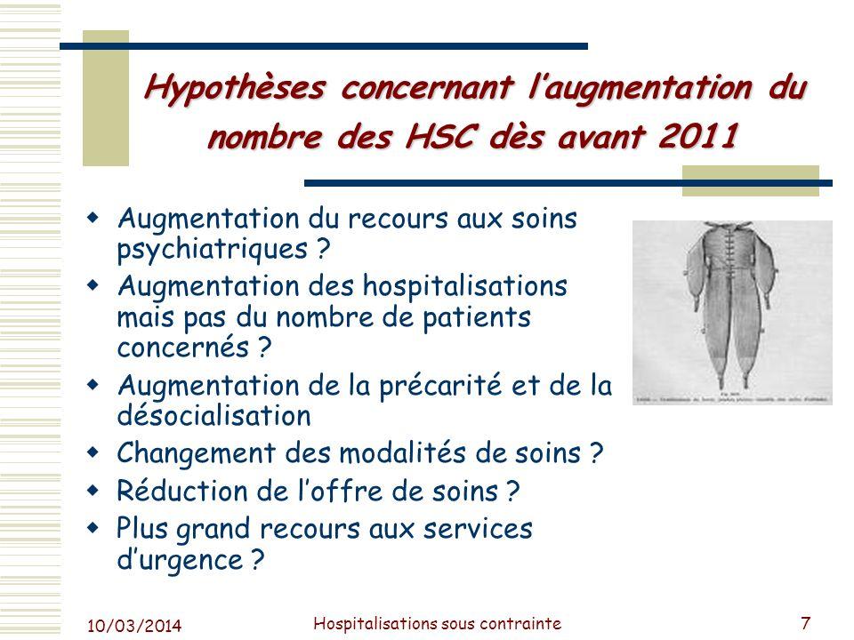 Hypothèses concernant l'augmentation du nombre des HSC dès avant 2011