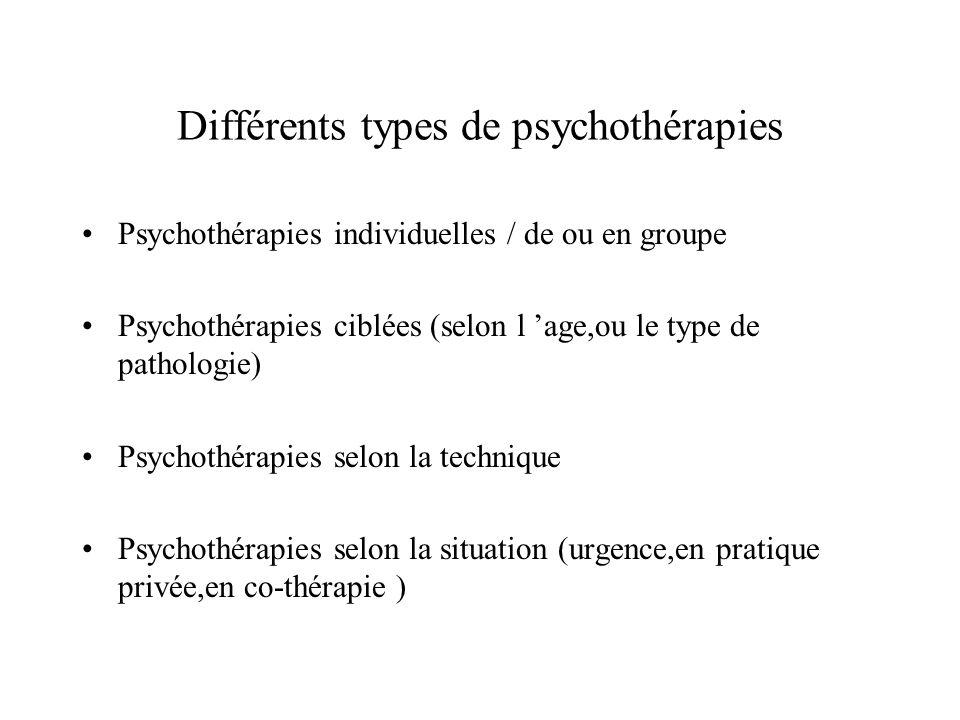 Différents types de psychothérapies