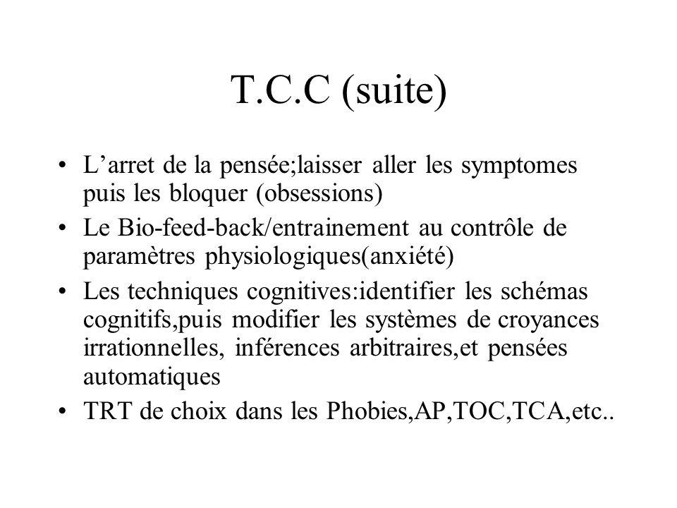 T.C.C (suite)L'arret de la pensée;laisser aller les symptomes puis les bloquer (obsessions)