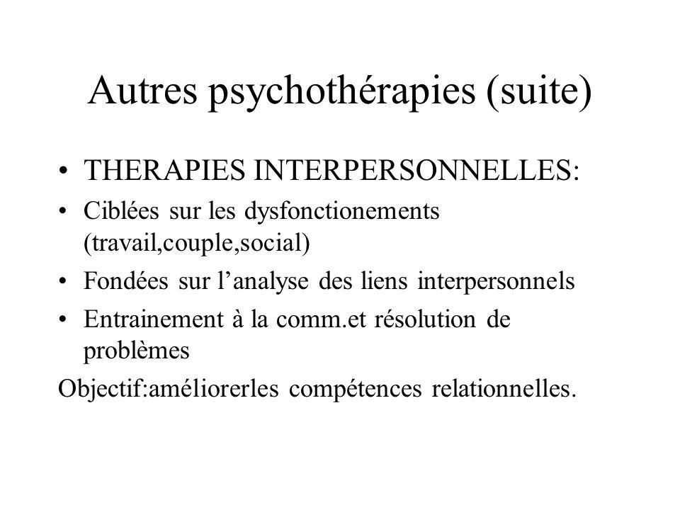 Autres psychothérapies (suite)