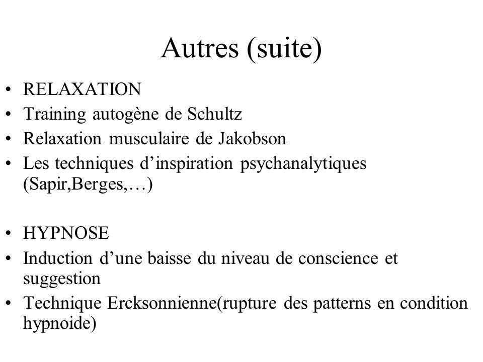 Autres (suite) RELAXATION Training autogène de Schultz