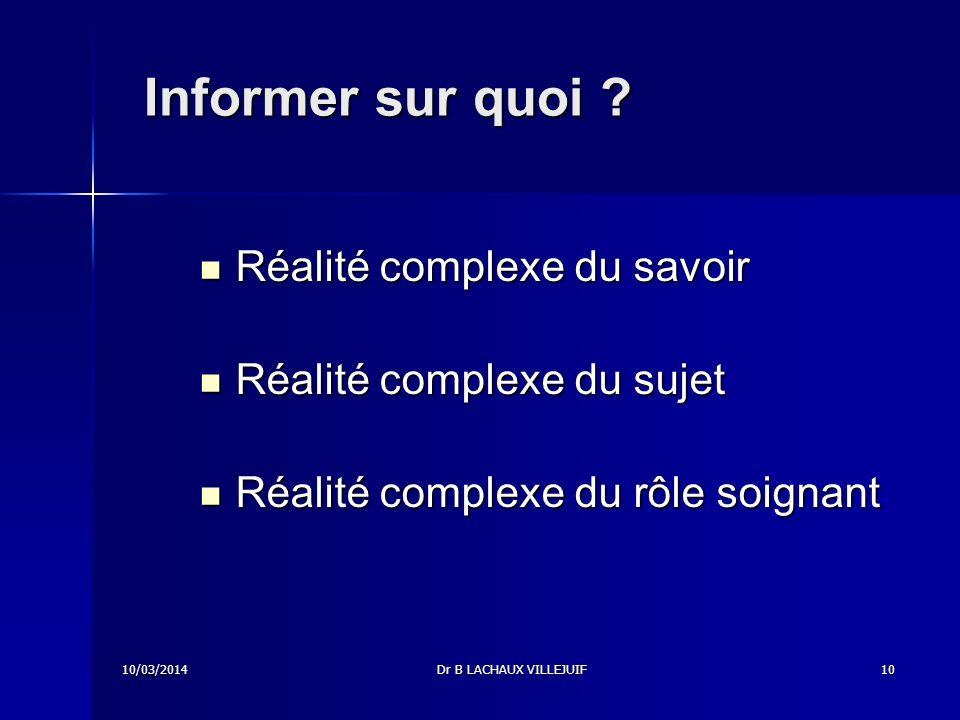 Informer sur quoi Réalité complexe du savoir