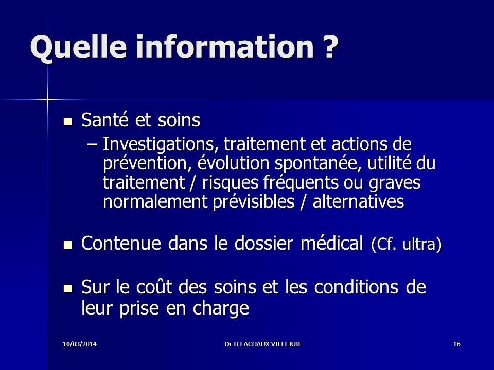 Quelle information Santé et soins