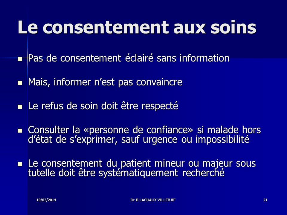 Le consentement aux soins