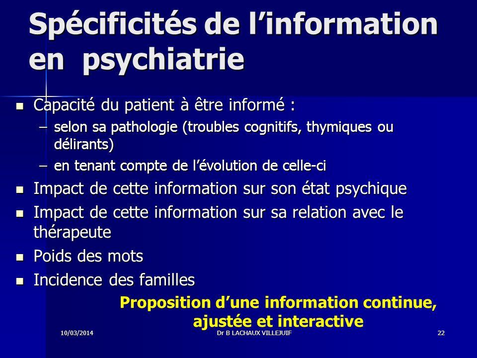 Spécificités de l'information en psychiatrie