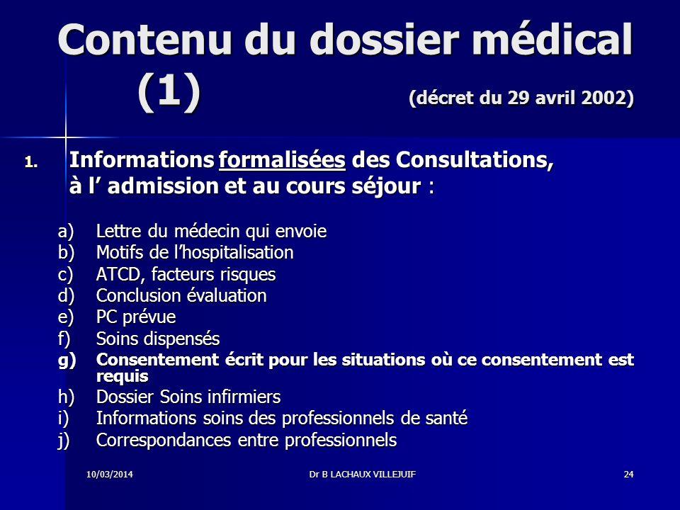 Contenu du dossier médical (1) (décret du 29 avril 2002)