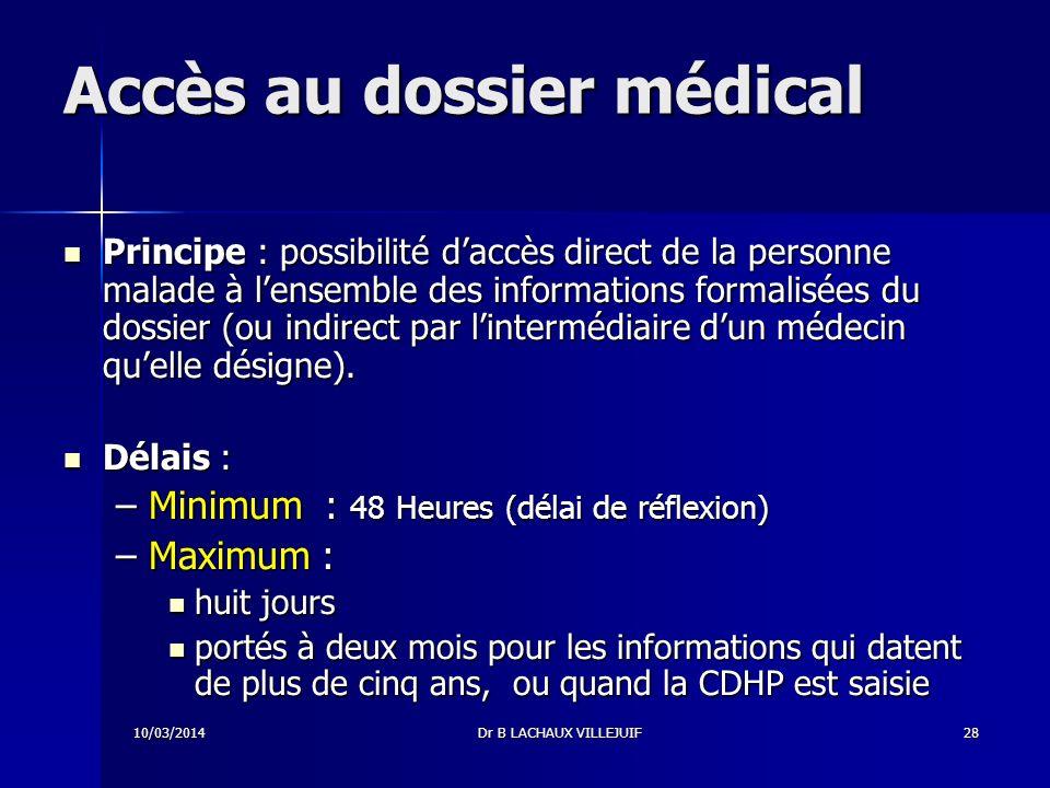 Accès au dossier médical